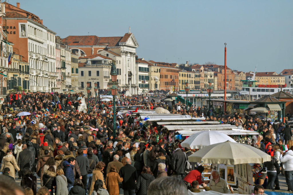 The terrific mass tourism impact on the historic city of Venice, February 2009, illustrates the present and future strain on heritage resources as sites become anchors for tourism and urban revitalization. Photo: Alessandro Giumelli/World Monuments Fund